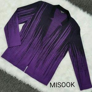 Misook Knit Jacket Purple & Black Mosaic Waterfall